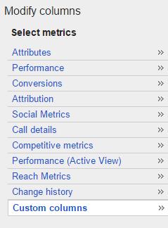 Select Column Metrics