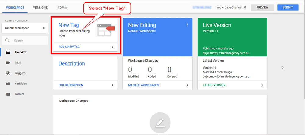 Call Tracking Script Google Tag Manager Screen Shot - Step 1
