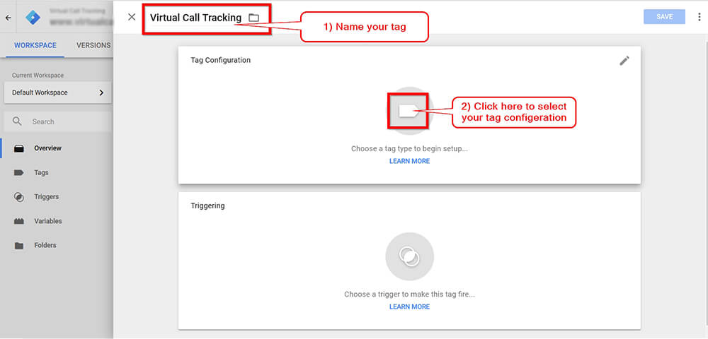 Call Tracking Script Google Tag Manager Screen Shot - Step 2
