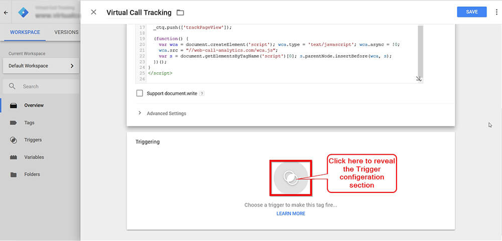 Call Tracking Script Google Tag Manager Screen Shot - Step 5