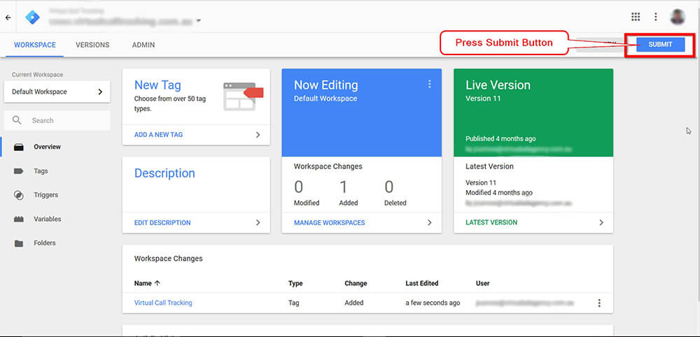 Call Tracking Script Google Tag Manager Screen Shot - Step 7