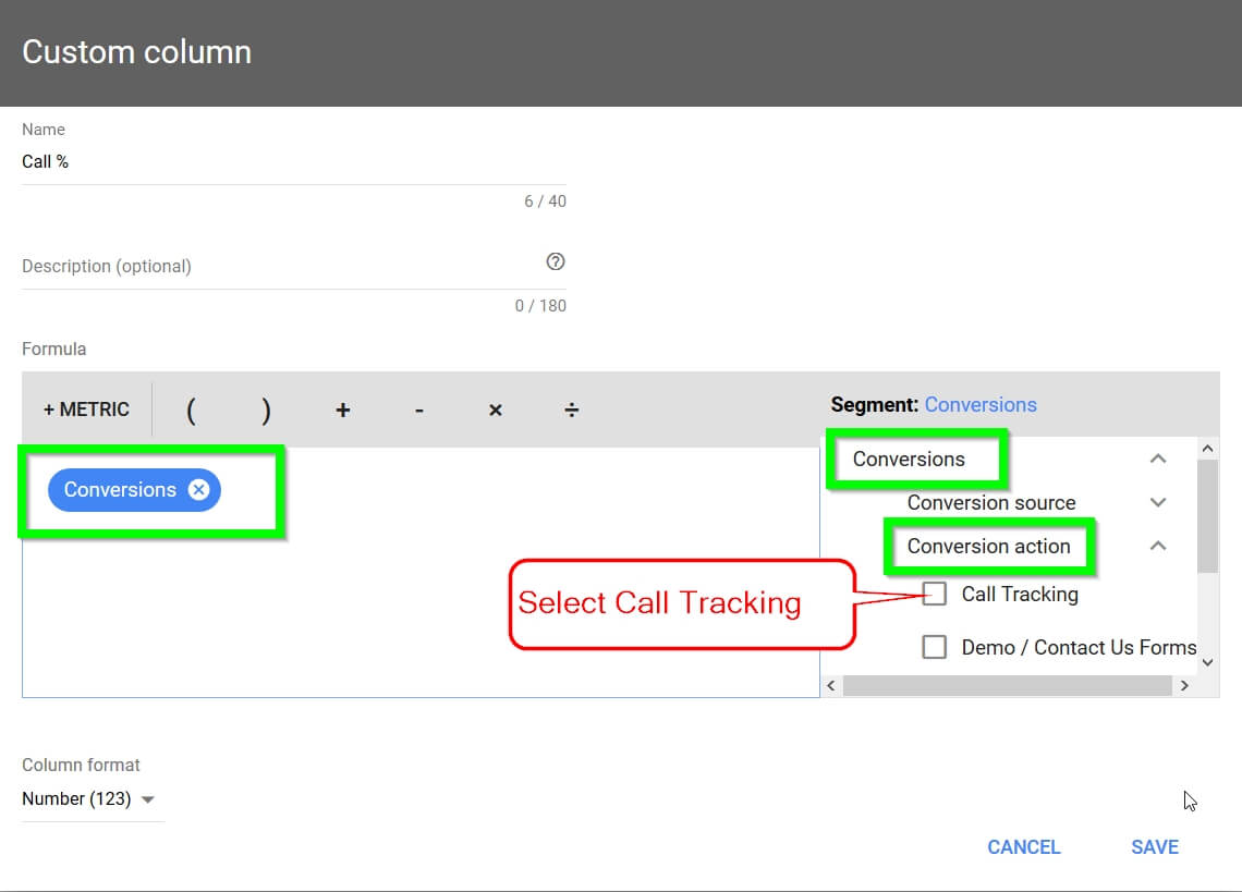 Adwords Call % Tracking