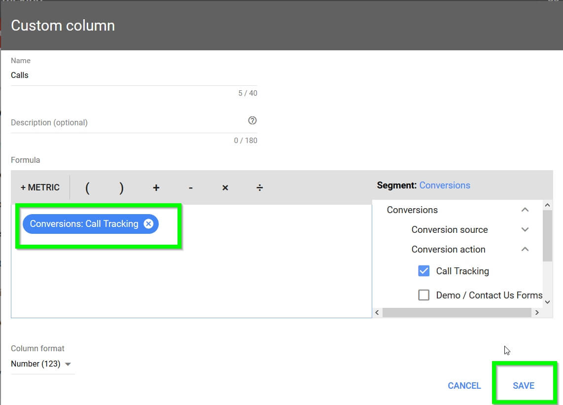 Adwords Call Tracking Save