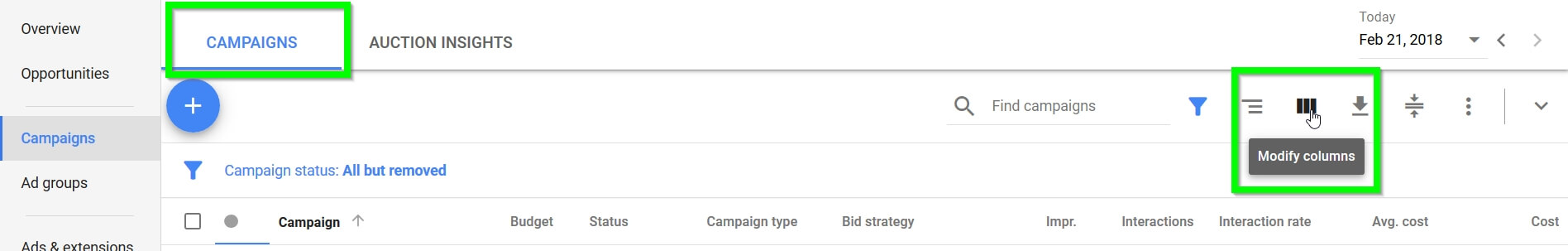New Adwords Modify Columns
