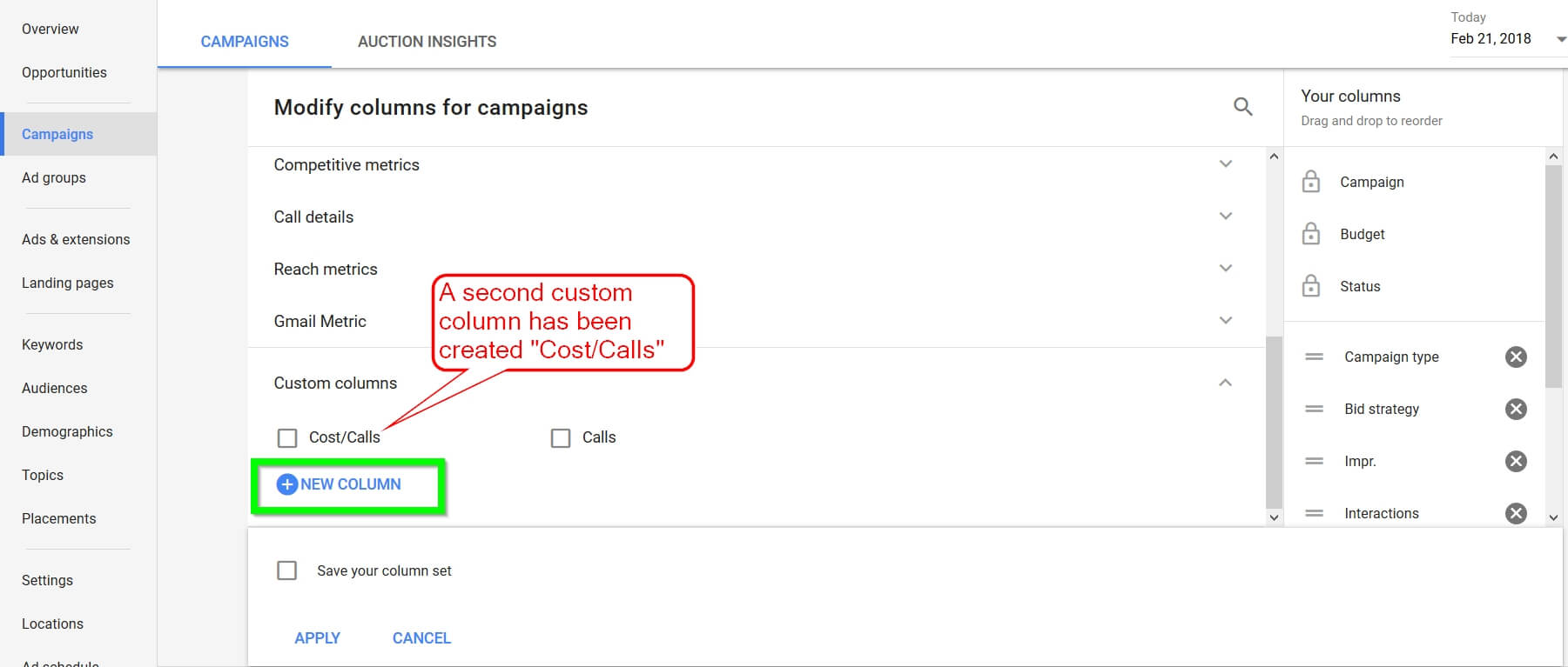 Adwords New Custom Column 2