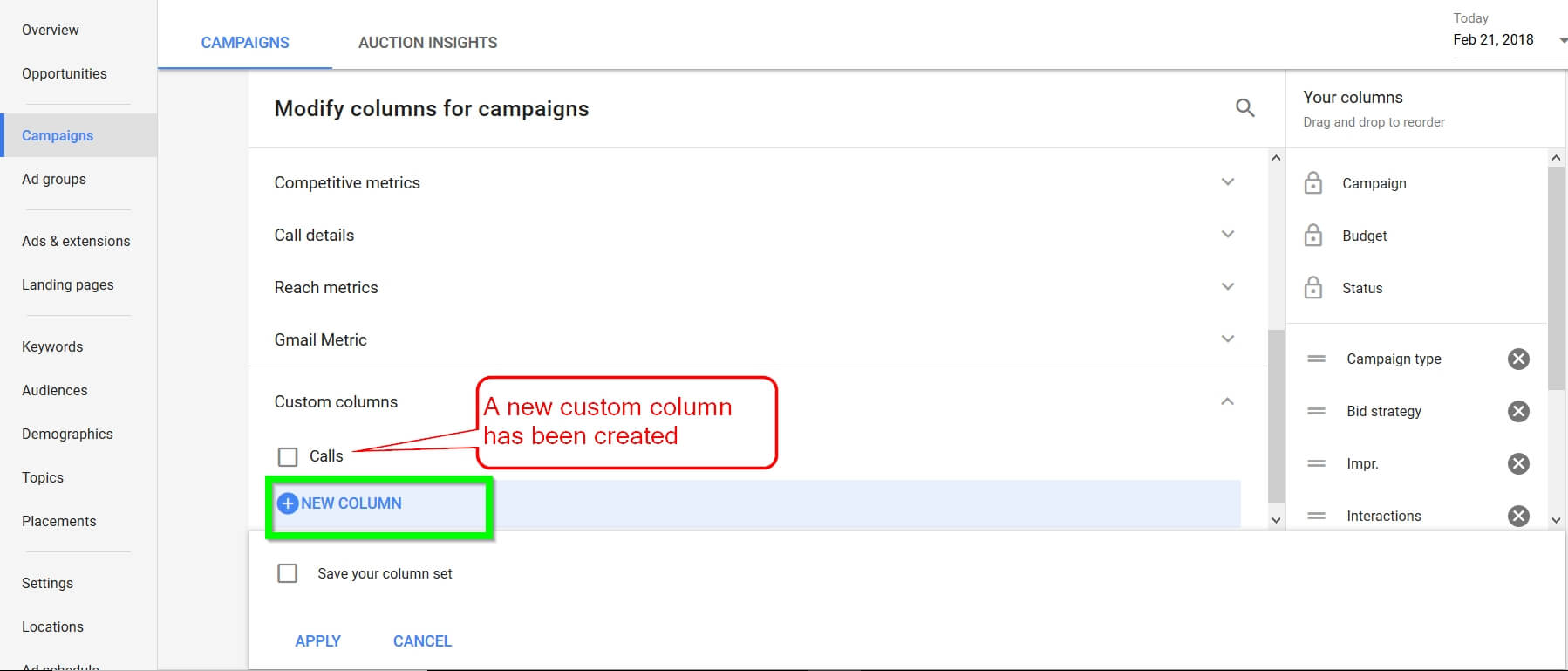 Adwords New Custom Columns